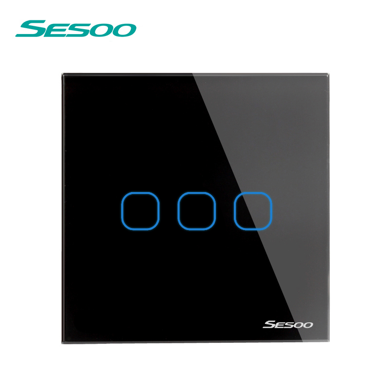 EU/UK Standard SESOO Touch Switch 3 Gang 1 Way,Crystal Glass Switch Panel,Fireproof and durable,Wall Light Touch Switch eu uk standard sesoo touch switch 1 gang 1 way wall light touch screen switch crystal glass switch panel remote control switch
