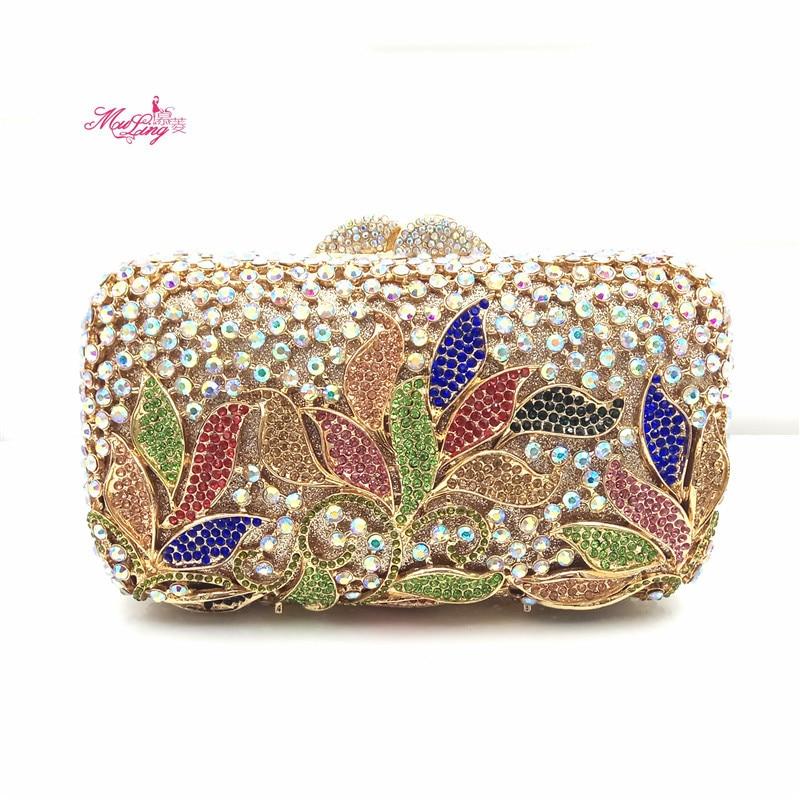 цена на Dinner Diamonds Banquet Package Handbag Evening Crystal Women Wallets Female Party Hand Bags Flower Gift Dames Tassen Bolso Gold