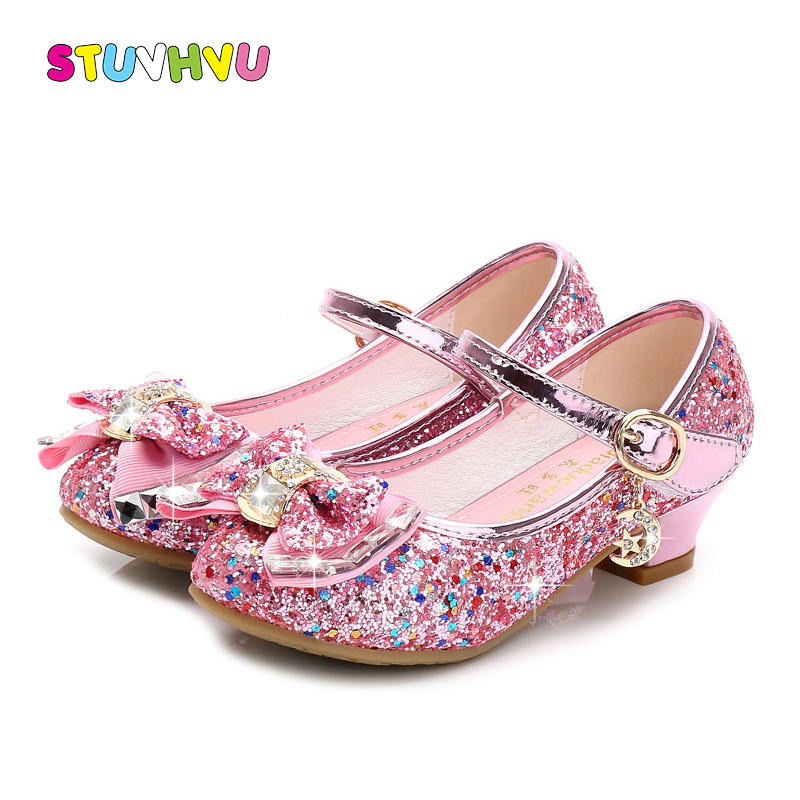 Girls Shoes 2019 Spring Girls Small High Heels Fashion Sequin Bow Children's Dance Shoes Pink Blue Gold Silver Princess Shoes