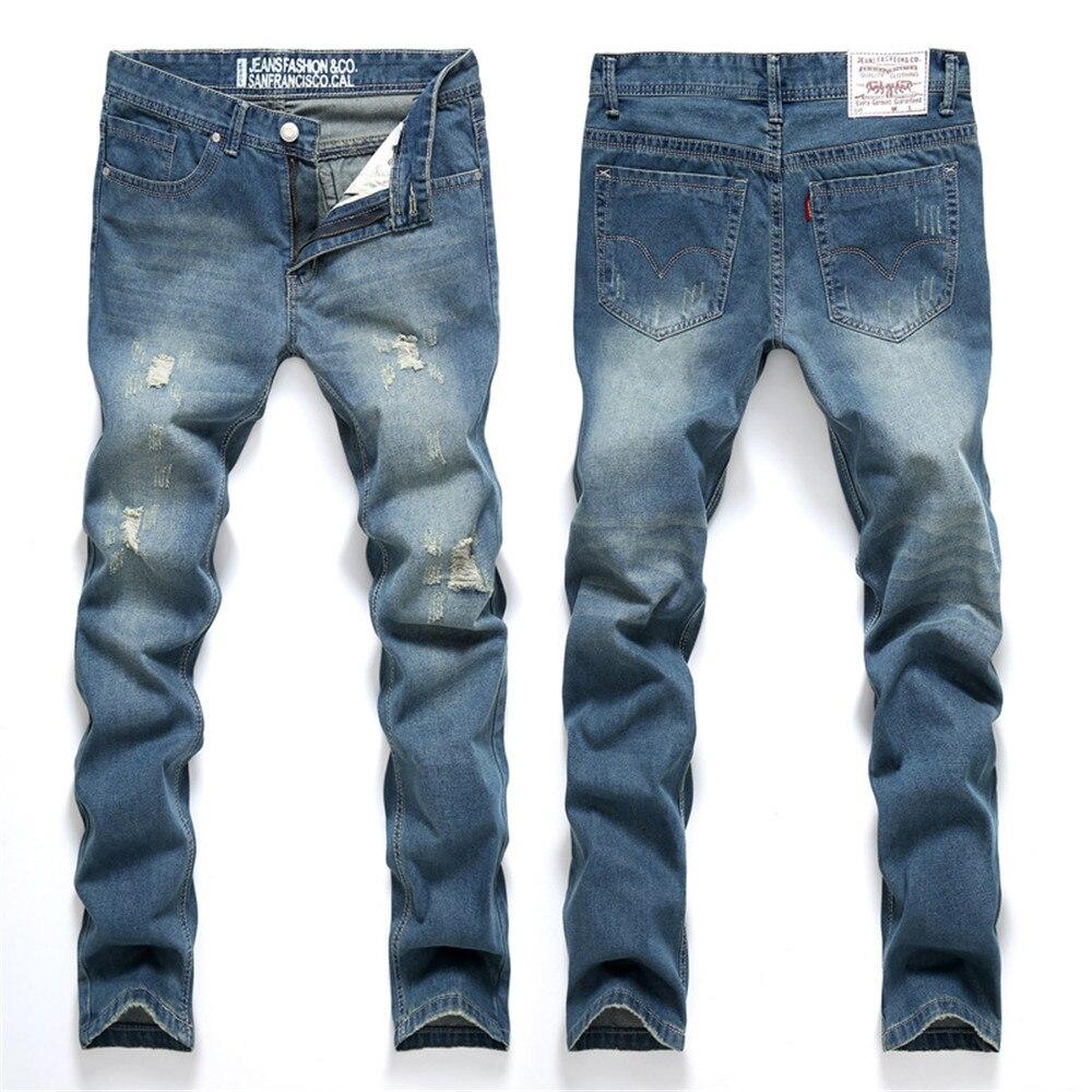 Fashion Casual Top Quality Men s Jeans Leisure Pants Retro Skinny Designed Hole Jeans Men Blue