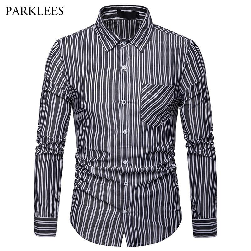 Aliexpress.com : Buy Mens Classic Vertical Striped Shirt ...