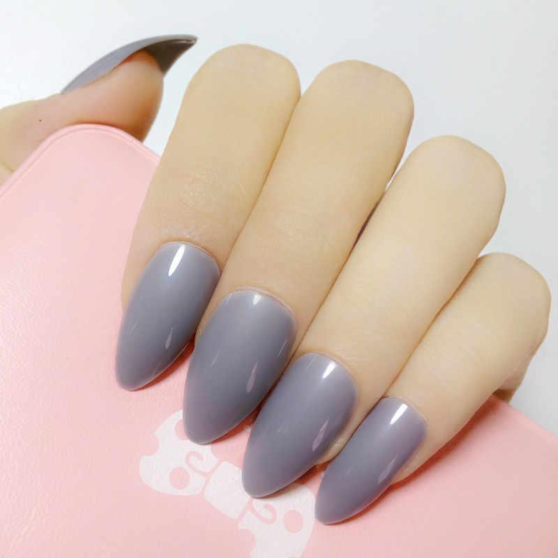 Gris clair pointu faux ongles acrylique ongles conseils court Stiletto faux ongles Style quotidien couverture complète manucure matériel 24 pièces E181