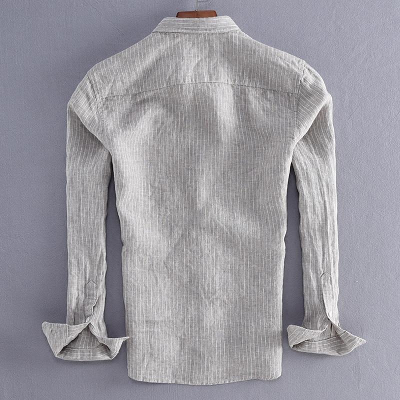 New Arrival Men Fashion Stripe Linen Shirt Male Casual  1