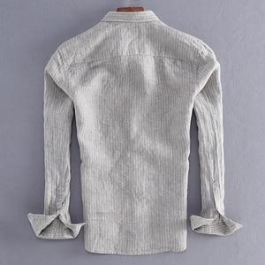 Image 2 - 2019 ניו הגעה גברים אופנה פס פשתן חולצה זכר מזדמן ארוך שרוול למעלה איכות נוזל Slim Fit חולצה בסיסית יבוא בגדים