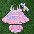 2016 girls boutique clothing sets infant girl clothes baby girls swing top sets grey white chervon outfits with headband