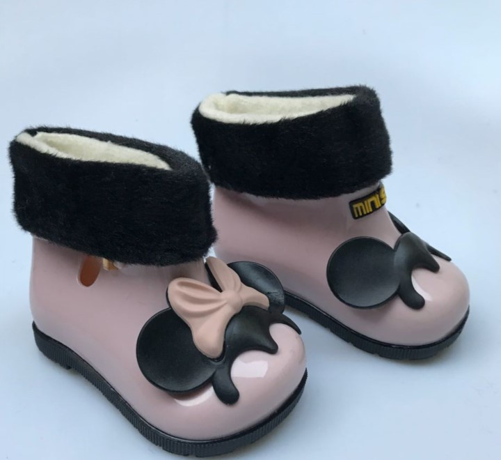 3 colors cute winter warm with fur baby rain boots shoes velvet baby todder fashion boots non slip waterproof shoes Sapato