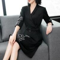Casual Work Wear Slim Three Quarter Sleeve Chiffon Slim Dress Women Black Color Print V Neck Sexy Clothes Autumn Spring