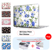 Blue Rose Laptop Accessories Hard Cases Cover For Macbook air 13 Case for Macbook Pro 13 15 retina Touch bar Model A1706 A1707
