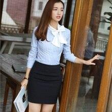 Новинка, женские костюмы с юбкой из 2 предметов и топом, небесно-голубые блузки и рубашки, женские офисные форменные дизайны