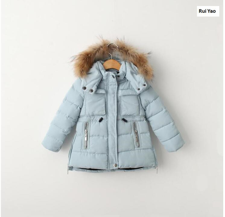 YBP509908ch115 2017 Winter Girl Parka Solid Hooded Real Fur Girl Outerwear Worm Girl Coat Kids Jacket Kids Clothes nike alliance parka 550 hooded