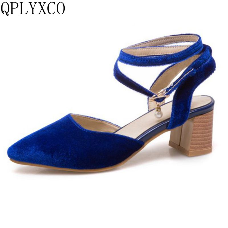 QPLYXCO Plus Super New Women Summer style Sandals Big & Small size 31-50 High Heels Sexy Party wedding Dress shoes T339 qplyxco 2017 new big size 34 47 ankle boot short autumn winter sexy women s pointed toe high heels wedding party shoes 584 2