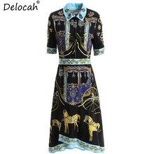 Delocah New 2019 Women Spring Summer Dress Runway Fashion Beading Ruffles Animal Printed Elegant Vintage Ladies Vacation Dresses цены