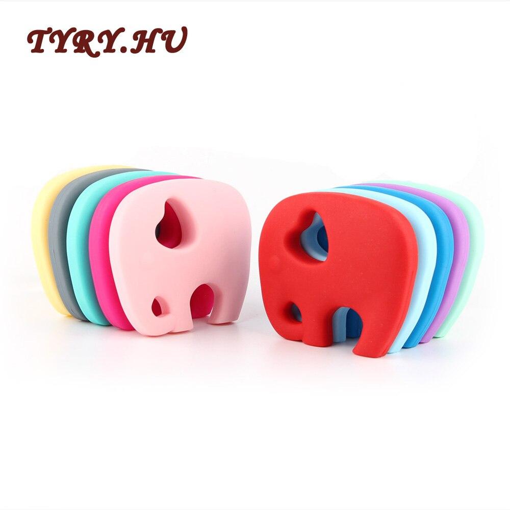 TYRY.HU 10PC Elephant Teether Baby Teething Pendant Materials BPA Free Food Grade Silicone Beads Newborn Chewable Nur Gift Toys
