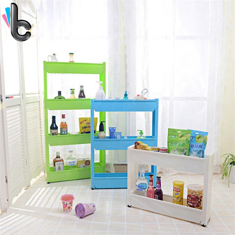 Creative 3 layer Plastic Storage Rack with Wheels with Removable Kitchen Bathroom Storage Organizer