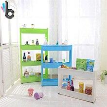 Творческий 3 слой пластика хранения стойку с колесами с съемный Кухня Ванная комната хранения Организатор