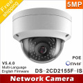 Free shipping New model DS-2CD2155F-IS 5Mp Audio Alarm I/O interface Dome CCTV Camera POE IP H265