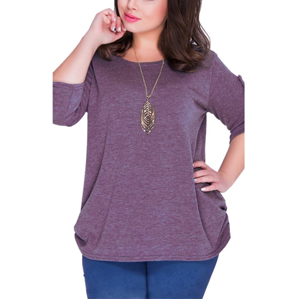 4xl 5xl 6xl Plus Size Blouse for Woman Big Size Ladies Casual Shirts O-neck 3/4 Sleeve Tops Fashion Blusas Vintage Chic Clothing