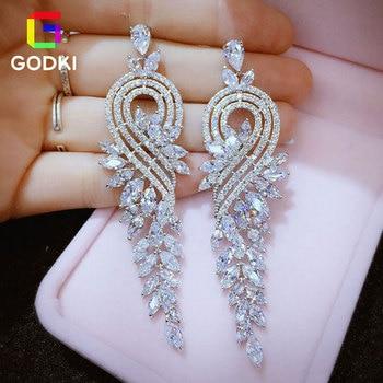 GODK сверкающими фианитами Для женщин вечерние Обручение серебряные серьги