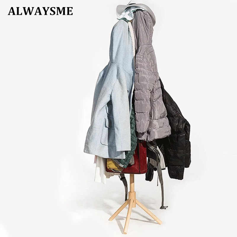 ALWAYSME พรีเมี่ยมไม้ Coat Rack ยืนฟรี 8 ตะขอไม้ Coat Rack สำหรับหมวกผ้าพันคอเสื้อผ้ากระเป๋าถือ
