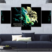 5 Pieces Modular Abstract Jackson Concert Face Eye Painting Canvas Wall Art Pictures Home Decoration Modern HD Printed Poster