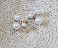 Accessories suspension copper neckband blended color gold pearl stud earring