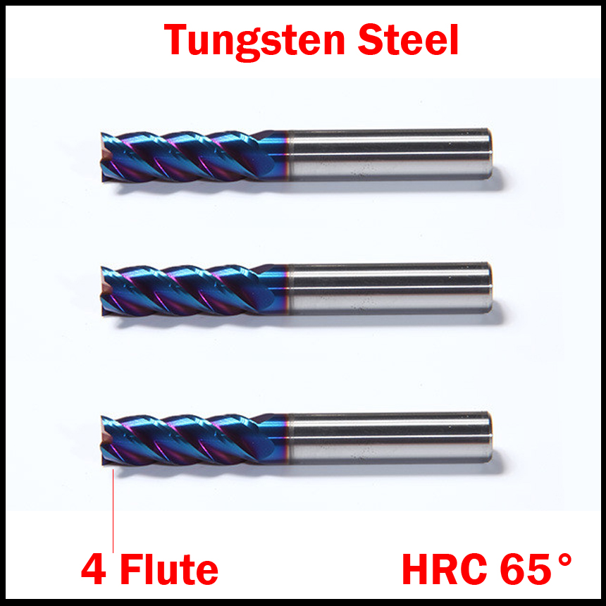 16mm OD HRC65 NACo-Blue Coated Tungsten Solid Carbide 4 Flute Flattened Straight Shank CNC Tool End Mill Milling Cutter high precision machining zcc ct al 3e d20 0 solid carbide 3 flute flattened cnc end mill 20mm straight shank milling cutter