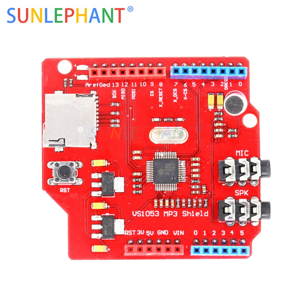 VS1053 VS1053B Stereo Audio MP3 Player Shield Record Decode Development Board Module With TF Card Slot For Arduno UNO R3 OneVS1053 VS1053B Stereo Audio MP3 Player Shield Record Decode Development Board Module With TF Card Slot For Arduno UNO R3 One