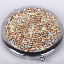 Portable portable mirror stainless steel diamond folding single double with magnifying glass