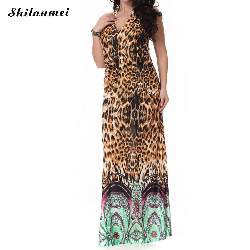 leopard print party dress to the floor plus size women clothing halter v neck long boho maxi dresses ladies vestido de festa
