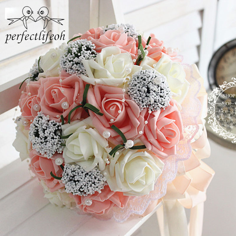 Perfectlifeoh Bridal Hands Bouquet Wedding Gossamer Hand Bouquet Simulation Flowers Ball Photography Wedding Flowers