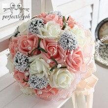 Perfectlifeoh gelin el buket düğün Gossamer el buketi simülasyon çiçekler topu fotoğraf düğün çiçekleri