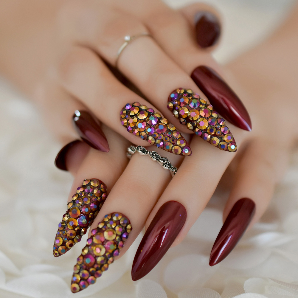 Extra Long Nail Tips Stiletto Rhinestone Designer Press On ...