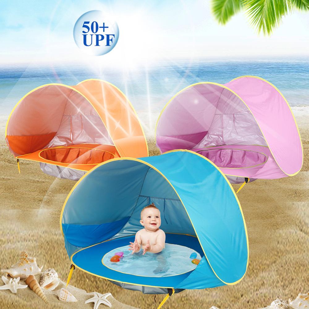 Tienda de playa para bebé protección Uv para el sol, juguetes para niños, pequeña casa impermeable, tienda de toldo, piscina portátil para niños tiendas de campaña