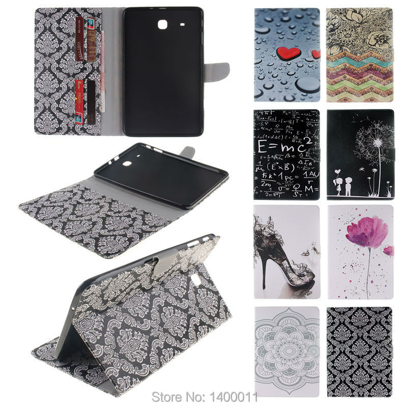 Colorful Painting Stand Flip Pu Leather Case For Samsung Galaxy Tab E 9.6 T560 T561 Tablet Pc
