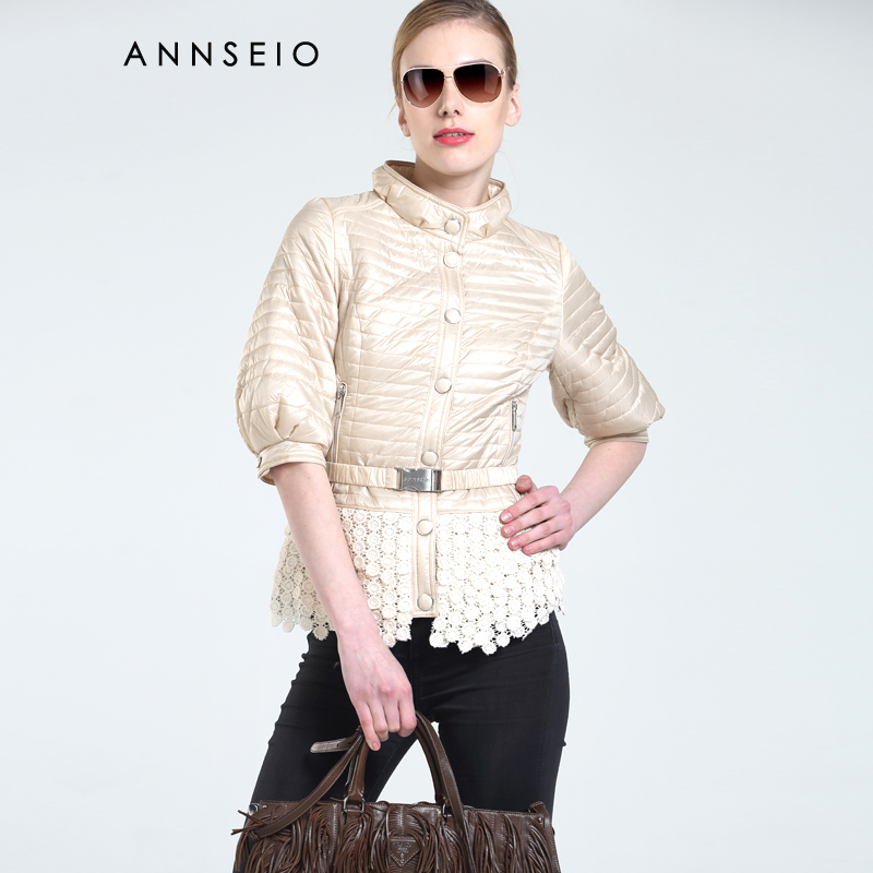 ANNSEIO 2016 Spring brand women cotton padded dress fashion lace coat press button jacket AC 15A8744