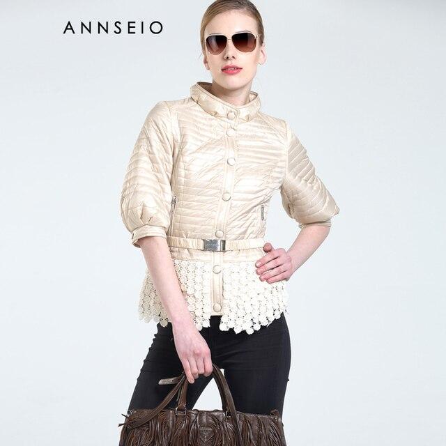 Annseio 2016 весна марка женщины хлопка-проложенный одежды мода кружева пальто нажмите кнопку куртка AC-15A8744