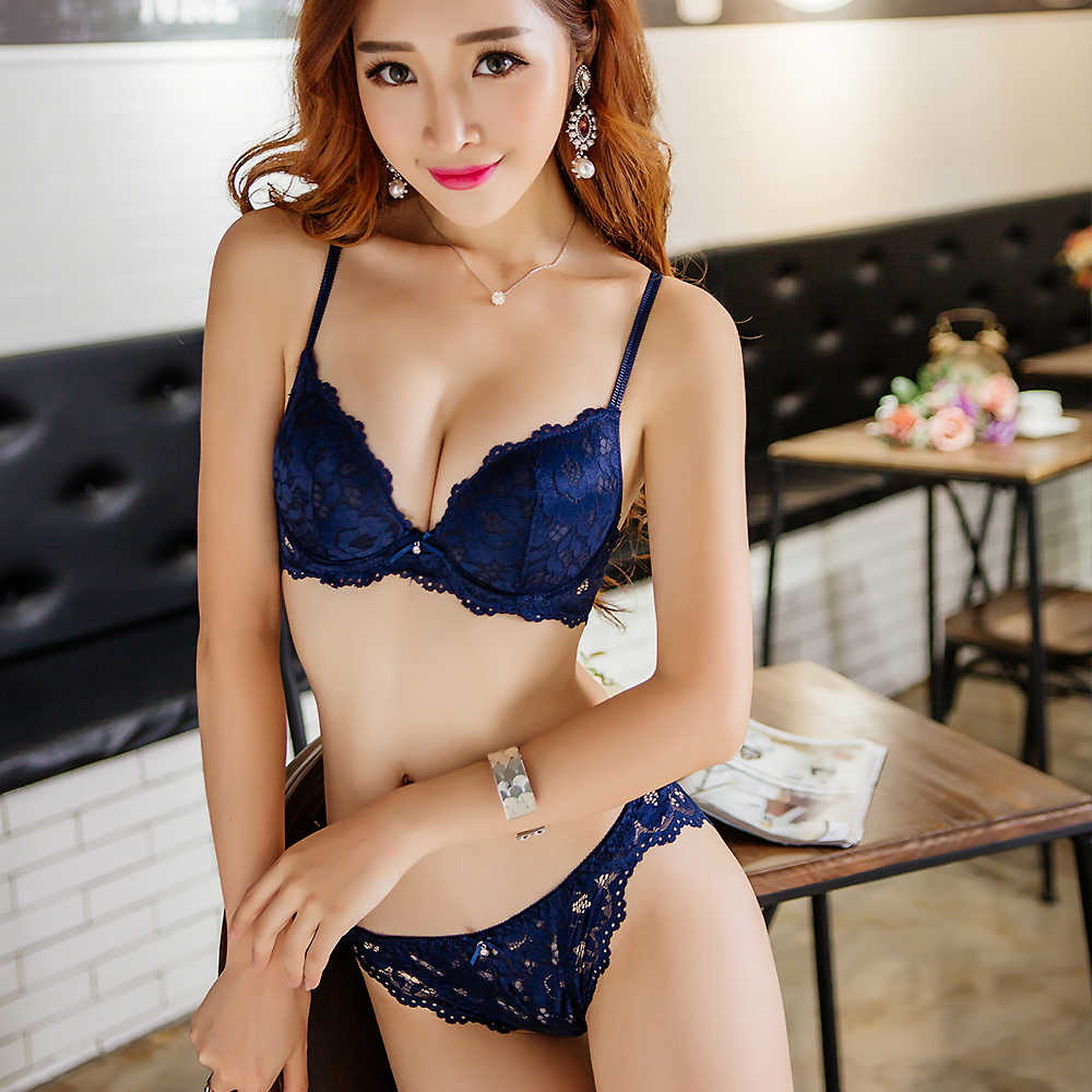 YANDW Ladies French Lace Push Up Bra Set Sexy Blue Panties And Bra Sets Women A B C Cup Brand Hot Embroidery Lingerie Set
