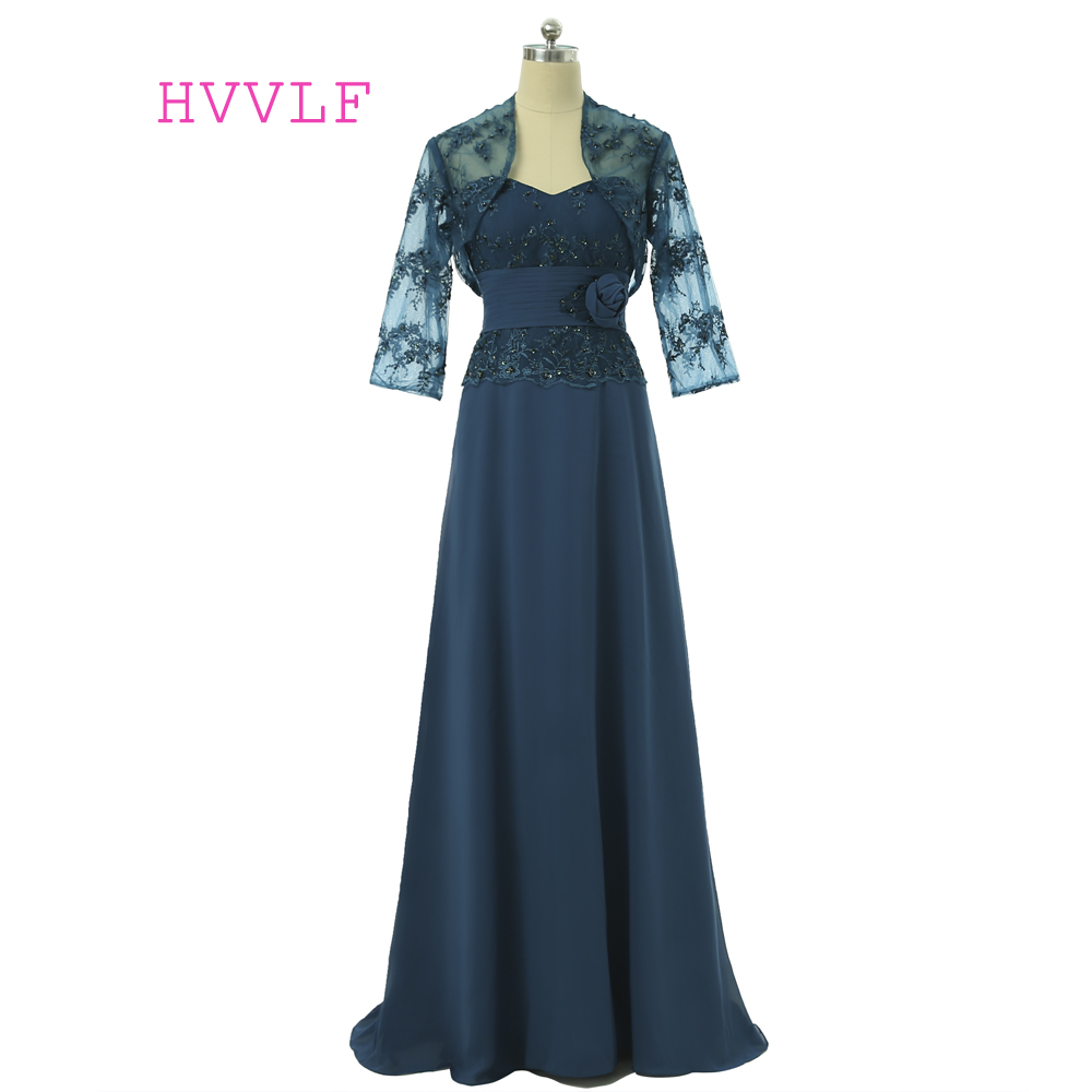 Navy Blue 2019 Mother Of The Bride Dresses A-line Chiffon Lace With Jacket Long Evening Dresses Groom Mother Dresses For Wedding