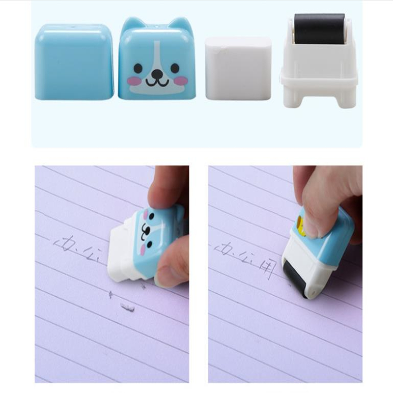 1PCS Creative Roller Eraser Cute Cartoon Rubber Cute Student Creative Stationery Prizes Eraser Animal Wheel Eraser Genuine