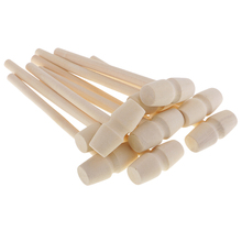 10 Pcs Mini Natural Wooden Hammer Mallet for Dollhouse Playing House Supplies Lobster Crab Other Shellfish DIY Making