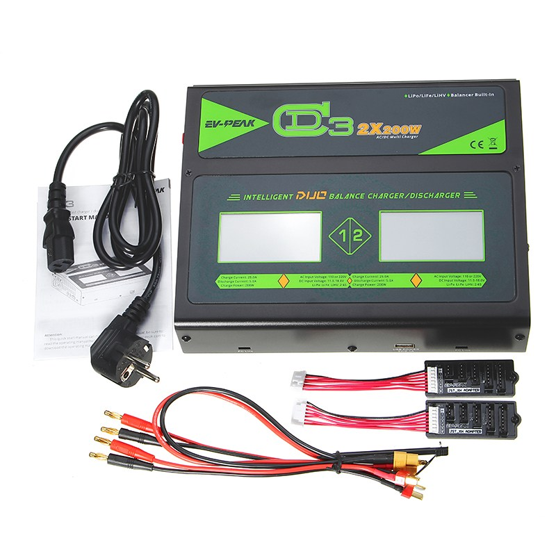 New Hot EV-PEAK CD3 Touch Screen 2X200W 25A Dual AC/DC 1S-6S Lipo Battery Balance Charger Discharger For RC Drone new ea7 s6c rc touch screen
