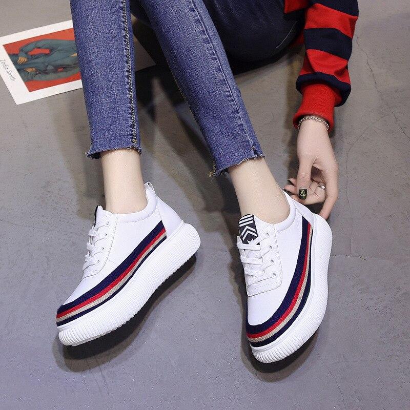 Chaussures Blanc Tête Noir Pour Avec Femmes Ronde Étudiants Plates Sport De blanc Basses addAHq