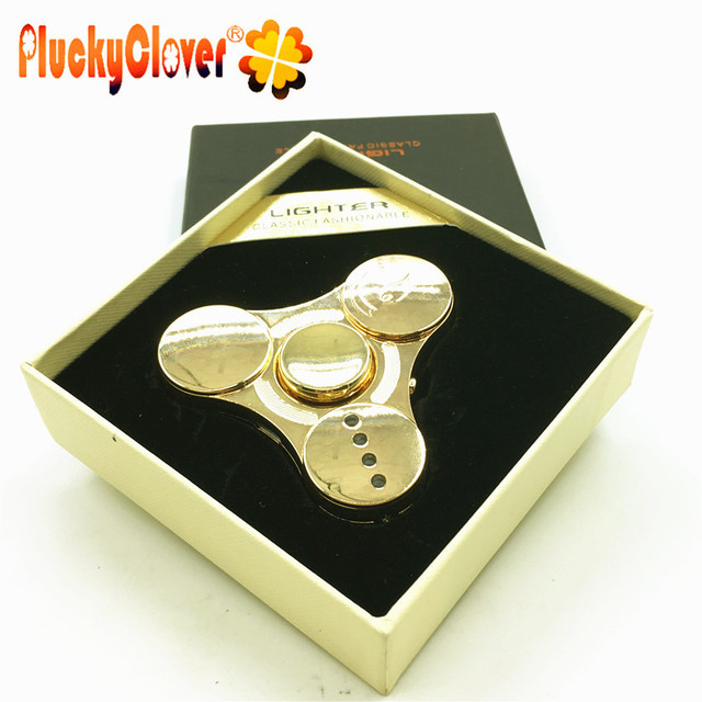 1 pc Fid Spinners Lighter Gold Finger Metal Handspinners LED