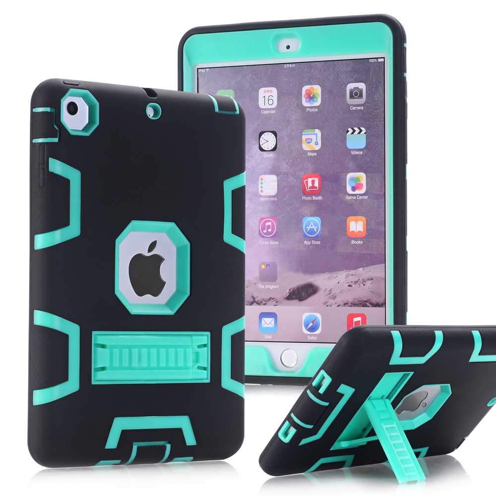 WeFor Case For Apple iPad Mini 1/2/3 Shockproof Heavy Duty Rubber With Hard Stand Cover Fundas W/Screen Protector + Stylus Pen