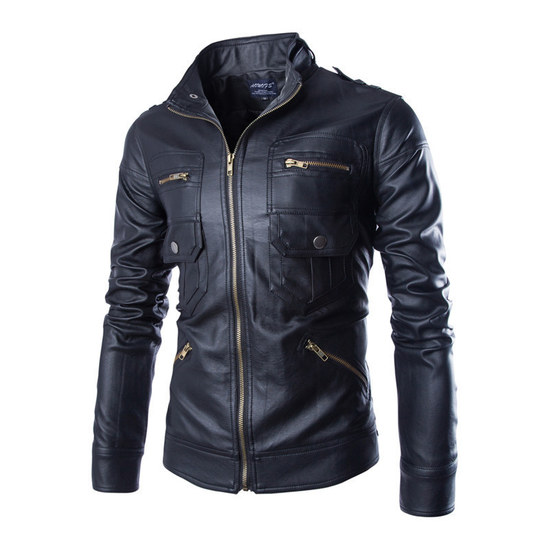 New Pu Leather Jacket Men 2017 Fashion Design Pocket Mens Slim Motorcycle Biker Jacket Brand Jaqueta De Couro Masculina Y102