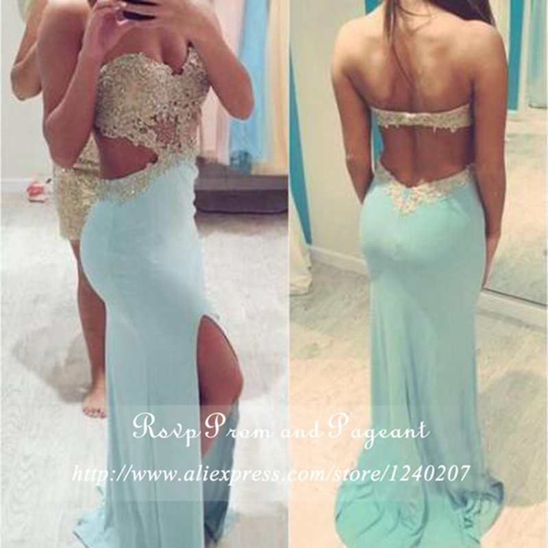 Sexy Prom Dresses 2017 Long sweetheart Neck Off The Shoulder Beaded Lace Backless Light Blue Mermaid