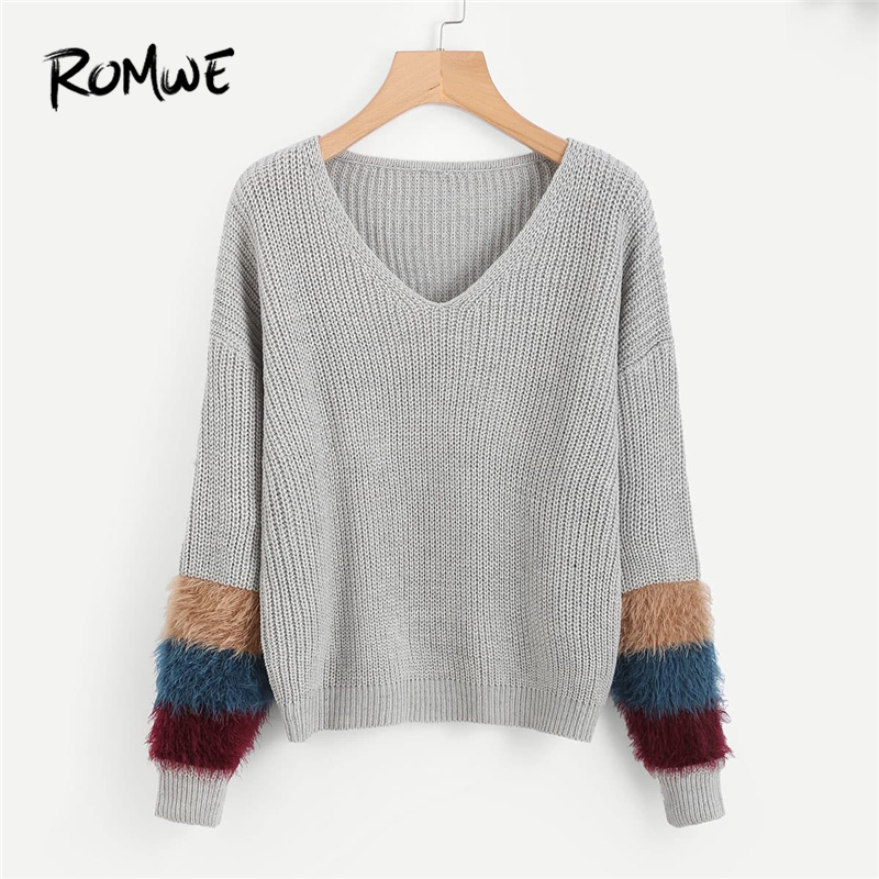Sweater With Fur Neck And Cuff: ROMWE Grey V Neckline Fur Cuff Sweaters Women Casual
