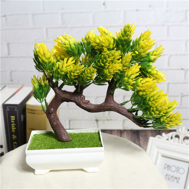 Artificial flower plant potted bonsai fake decorative flower plant ...