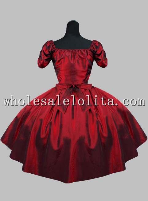 Gothique vin rouge robe courte victorienne - 3