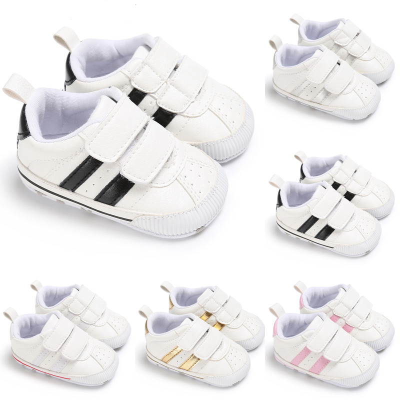 Fasion Newborn Baby Boy Girl Soft Sole White Pram Shoes Trainers Baby Crib Shoes Size 0-18M